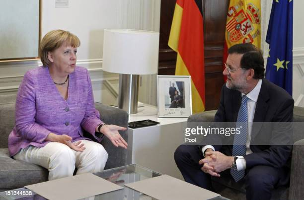 German Chancellor Angela Merkel meets Spanish Prime Minister Mariano Rajoy during a meeting at the Moncloa Palace on September 6 2012 in Madrid Spain...