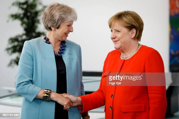 German Chancellor Angela Merkel meets Theresa May Prime Minister of the United Kingdom in the chancellery on July 05 2018 in Berlin Germany