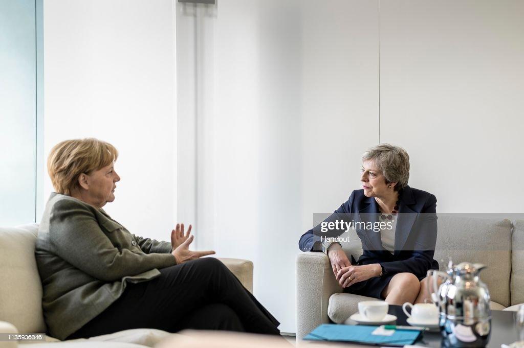Theresa May Meets With Angela Merkel In Berlin Ahead Of EU Summit : News Photo