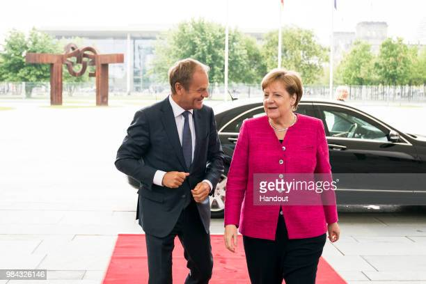 German Chancellor Angela Merkel meets with EU Council President Donald Tusk in the Federal Chancellery on June 26 2018 in Berlin Germany