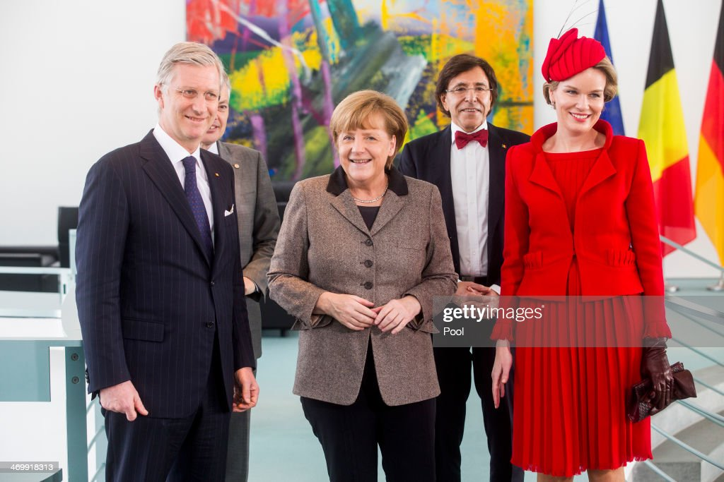 German Chancellor Angela Merkel (C) meets with Queen Mathilde of Belgium (R), King Philippe of Belgium (L), Belgian Prime Minister Elio Di Rupo (2ndR) and Vice-Prime Minister and Foreign Minister Didier Reynders (2ndL) on February 17, 2014 in Berlin, Germany. King Philippe and Queen Mathilde are in Berlin to attend a German-Belgian conference.