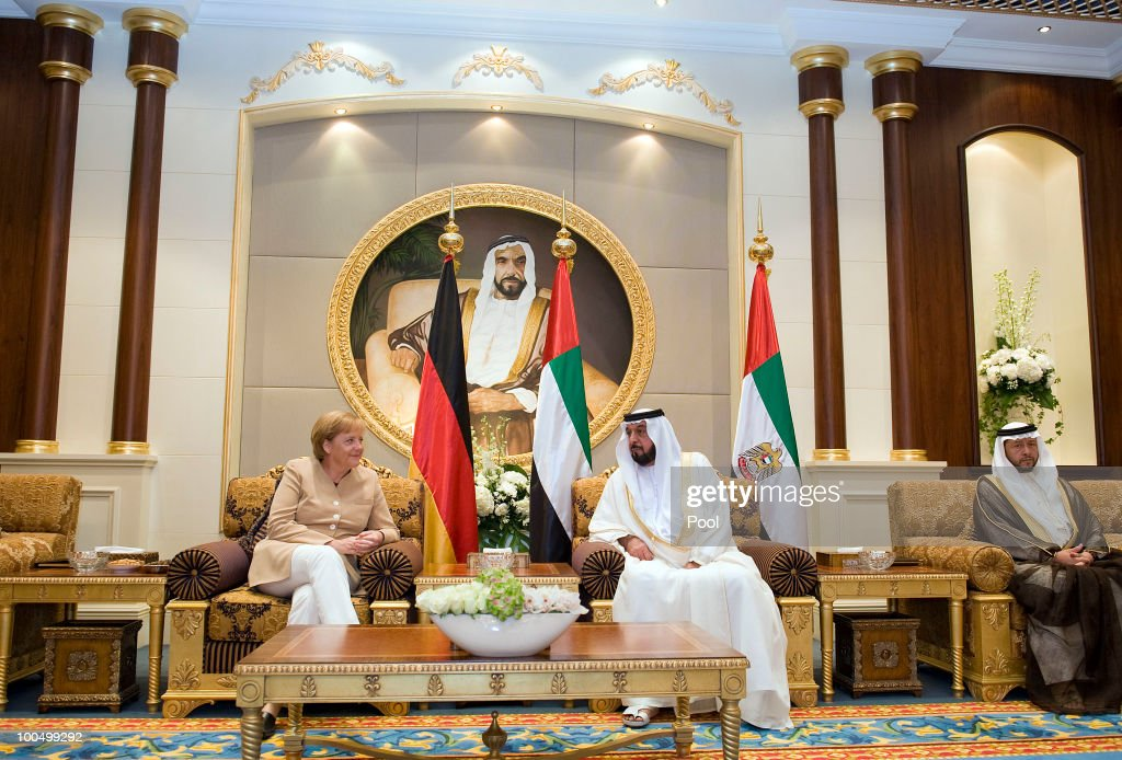 German Chancellor Angela Merkel meets with United Arab Emirates President Sheikh Khalifa bin Zayed Al Nahyanis on May 25, 2010 in Abu Dhabi, United Arab Emirates. Merkel began her four-day tour of the Gulf region in the United Arab Emirates on May 24 to promote the Middle East peace process. Political talks in the United Arab Emirates, Bahrain, Qatar and Saudi Arabia will also be dominated by regional security issues and the nuclear standoff with Iran.