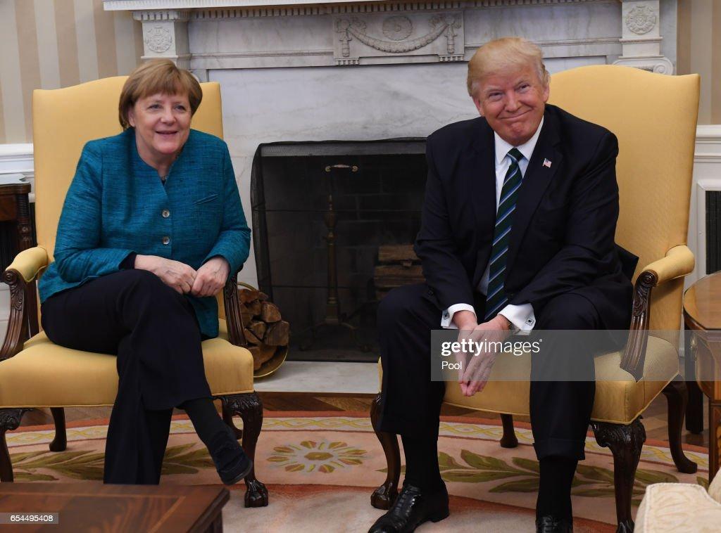 German Chancellor Angela Merkel and President Donald Trump Meet in Washington : News Photo