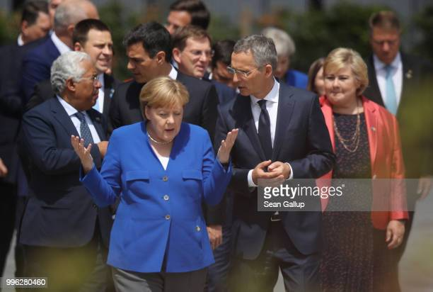 German Chancellor Angela Merkel NATO Secretary General Jens Stoltenberg and other heads of state arrive for the opening ceremony at the 2018 NATO...
