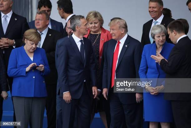 German Chancellor Angela Merkel NATO Secretary General Jens Stoltenberg US Presidnt Donald Trump and British Prime Minister Theresa May attend the...