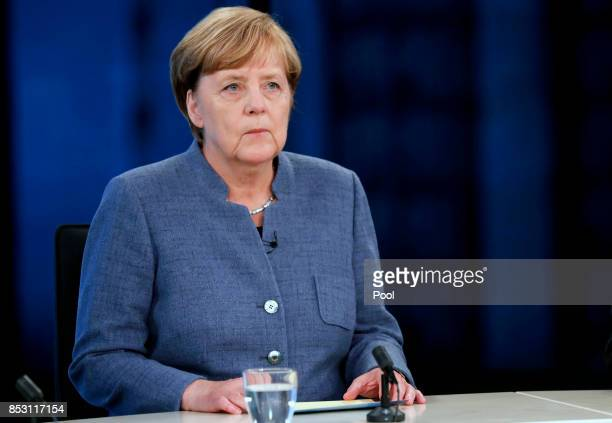 German Chancellor Angela Merkel of the Christian Democratic Union attends a TV discussion with the top candidates in the German federal elections on...