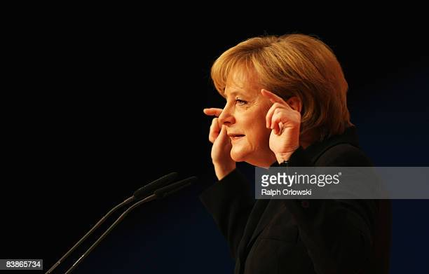 German Chancellor Angela Merkel of the Christian Democratic Union speaks at the annual party congress on December 1 2008 in Stuttgart Germany The...