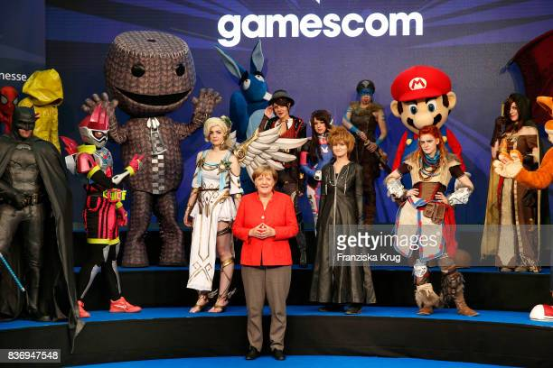 German Chancellor Angela Merkel opens the Gamescom 2017 gaming trade fair during the media day on August 22 2017 in Cologne Germany Gamescom is the...