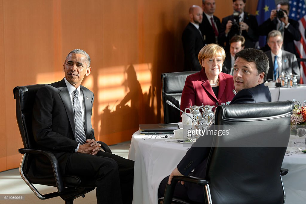 German Chancellor Angela Merkel, outgoing US president Barack Obama and Italian Prime Minister Matteo Renzi pose during talks with western European leaders at the Chancellery on November 18, 2016 in Berlin, Germany.Obama and Merkel will hold talks with British Prime Minister Theresa May, French President Francois Hollande, Italian Prime Minister Matteo Renzi and Spanish Prime Minister Mariano Rajoy today on Obama's last trip to Europe as U.S. President.