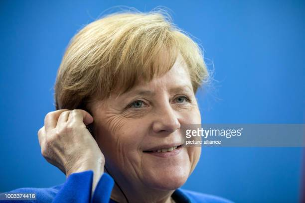 German Chancellor Angela Merkel photographed during a press conference after the fourth biennial GermanIndian InterGovernmental Cosultations in...