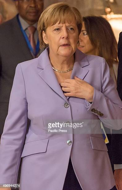 German Chancellor Angela Merkel pictured on the second day of the Valletta summit on migration during the Roundtable at the beginning of the meeting,...