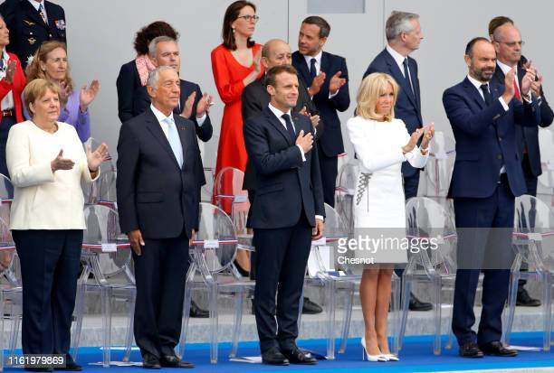 German Chancellor Angela Merkel, Portugal's President Marcelo Rebelo de Sousa, French President Emmanuel Macron, his wife, Brigitte Macron and French...
