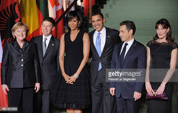 German Chancellor Angela Merkel Pr Joachim Sauer US First Lady Michelle Obama US President Barack Obama French President Nicolas Sarkozy and French...