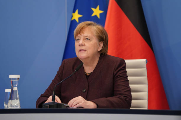 DEU: Angela Merkel Participates In Virtual Davos Gathering