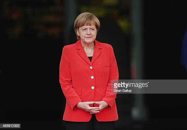 German Chancellor Angela Merkel prepares to welcome French Prime Minister Manuel Valls at the Chancellery on September 22, 2014 in Berlin, Germany....