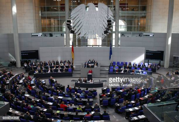 German Chancellor Angela Merkel presents the first government declaration of her new government to outline the government's policy course for the...
