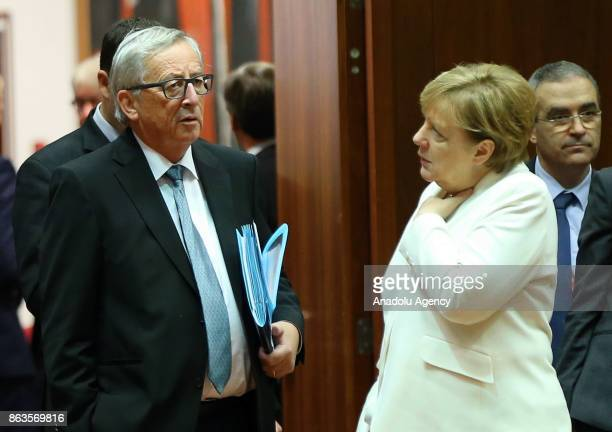 German Chancellor Angela Merkel President of the European Commission JeanClaude Juncker attend the European Council Meeting at the Council of the...