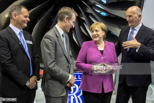 German Chancellor Angela Merkel Prime Minister of Brandenburg Dietmar Woidke Rolls Royce Marketing Director Ben Story and Rolls Royce Deutschland...