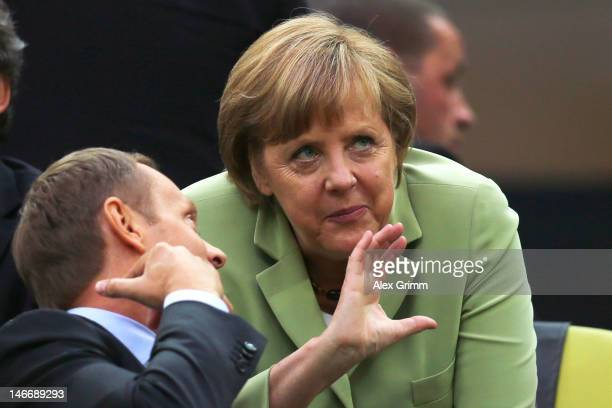 German Chancellor Angela Merkel prior to the UEFA EURO 2012 quarter final match between Germany and Greece at The Municipal Stadium on June 22, 2012...
