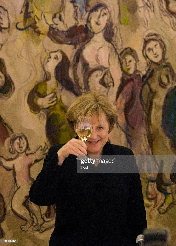 Angela Merkel Visits Israel : News Photo