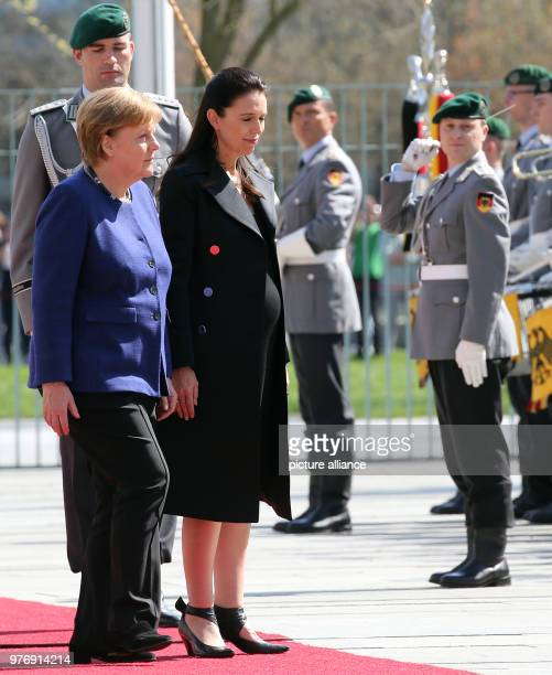 German Chancellor Angela Merkel receives New Zealand's Prime Minister Jacinda Ardern with military honours at the Federal Chancellery in Berlin...