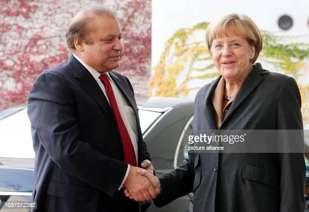 German Chancellor Angela Merkel receives Pakistani Prime Minister Muhammad Nawaz Sharif at the FederalChancellery in Berlin Germany 11 November...