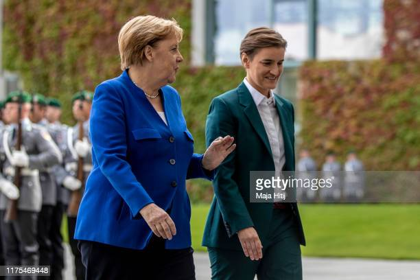 German Chancellor Angela Merkel receives Serbian Prime Minister Ana Brnabic with military honors at the Chancellery in Berlin on September 18 2019 in...