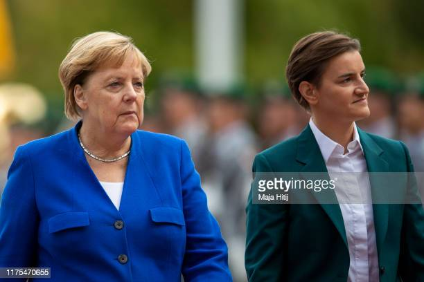 German Chancellor Angela Merkel receives Serbian Prime Minister Ana Brnabic at the Chancellery in Berlin on September 18 2019 in Berlin Germany