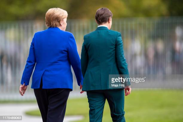 German Chancellor Angela Merkel receives Serbian Prime Minister Ana Brnabic with military honors at the Chancellery in Berlin on August 29 2019 on...