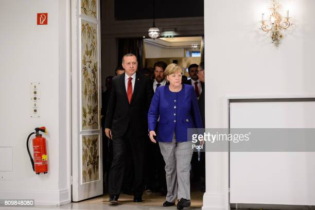 German Chancellor Angela Merkel receives Turkish President Recep Tayyip Erdogan on the eve of the G20 summit for bilateral talks on July 6 2017 in...