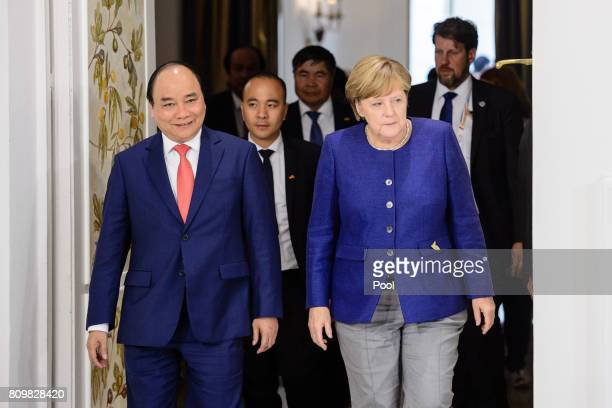 German Chancellor Angela Merkel receives Vietnamese Prime Minister Nguyen Xuan Phuc in the Hotel Atlantic on the eve of the G20 summit for bilateral...
