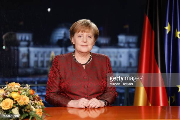German Chancellor Angela Merkel records her annual televised new year's address on December 20 2017 in Berlin Germany Merkel is entering 2018 still...