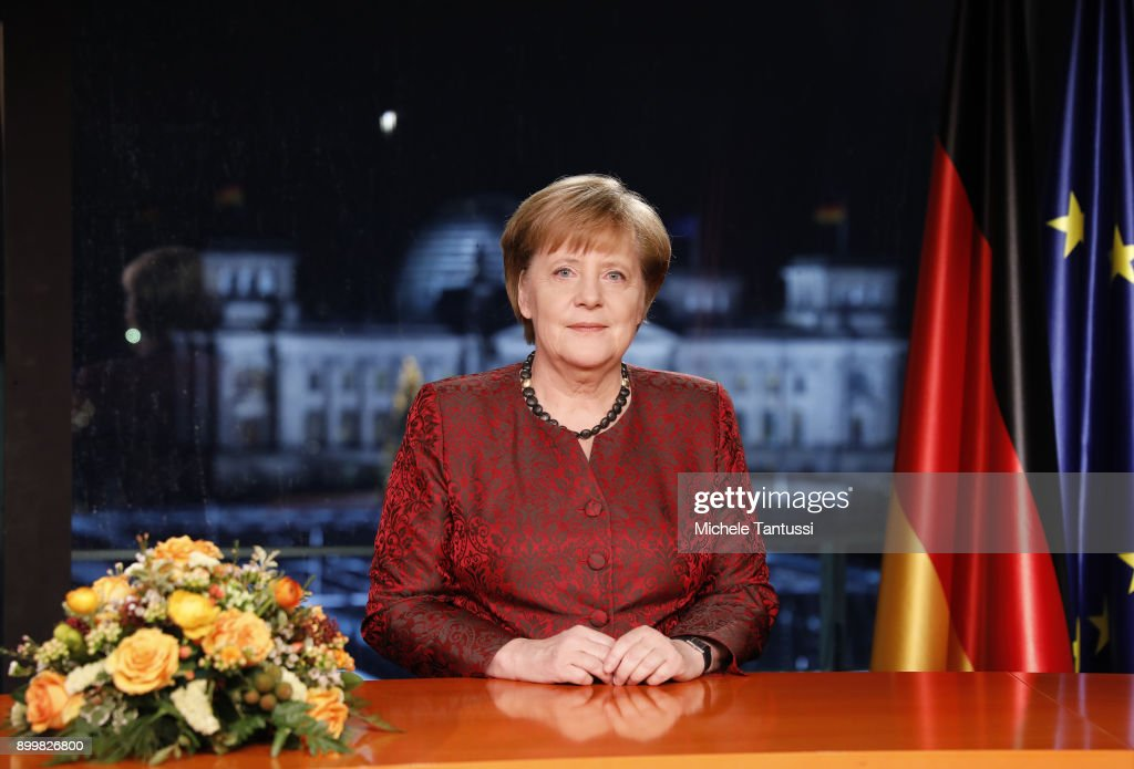 . German Chancellor Angela Merkel records her annual, televised new year's address on December 20, 2017 in Berlin, Germany. Merkel is entering 2018 still seeking a new government following elections in September, 2017. Her party, the German Christian Democrats (CDU), together with the CSU of Bavaria, are in talks with the German Social Democrats (SPD), though the outcome remains so far uncertain.
