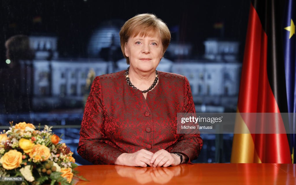 Angela Merkel Records New Year's Address : News Photo