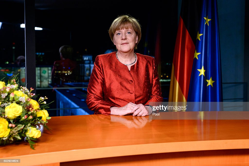 German Chancellor Angela Merkel records her televised new year's address at the Chancellery on December 30, 2015 in Berlin, Germany. Integration of the over one million migrants and refugees who came to Germany in 2015 will be among Germany's biggest challenges in 2016. Other major issues will include the fight against Islamist terror both at home and through Germany's participation in the coalition-led war against the Islamic State.