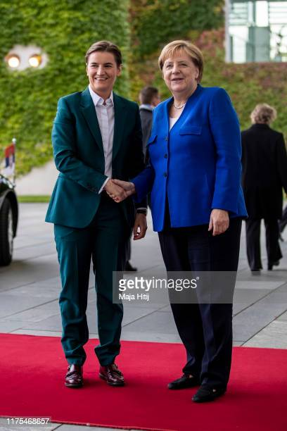 German Chancellor Angela Merkel shake hands with Serbian Prime Minister Ana Brnabic at the Chancellery in Berlin on September 18 2019 in Berlin...