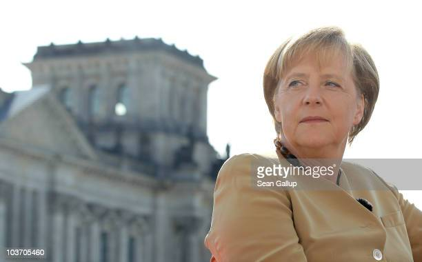 German Chancellor Angela Merkel sits down for her ARD television summer interview next to the Reichstag on August 29 2010 in Berlin Germany Merkel is...