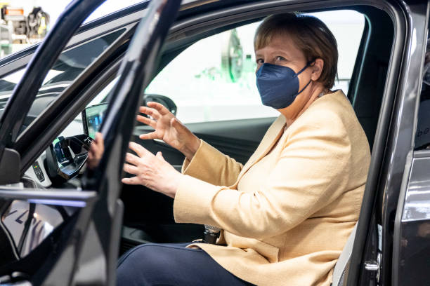 DEU: Angela Merkel Attends 2021 IAA Auto Show