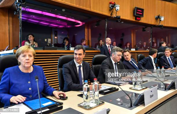 German Chancellor Angela Merkel Spanish Prime Minister Pedro Sanchez Croatian Prime Minister Andrej Plenkovic Luxembourg's Prime Minister Xavier...
