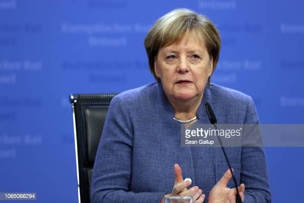 German Chancellor Angela Merkel speaks after attending a special session of the European Council over Brexit on November 25, 2018 in Brussels,...