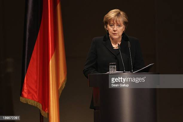 German Chancellor Angela Merkel speaks at a state commemoration for the victims of the NSU neoNazi murders at the Konzerthaus am Gendarmenmarkt on...