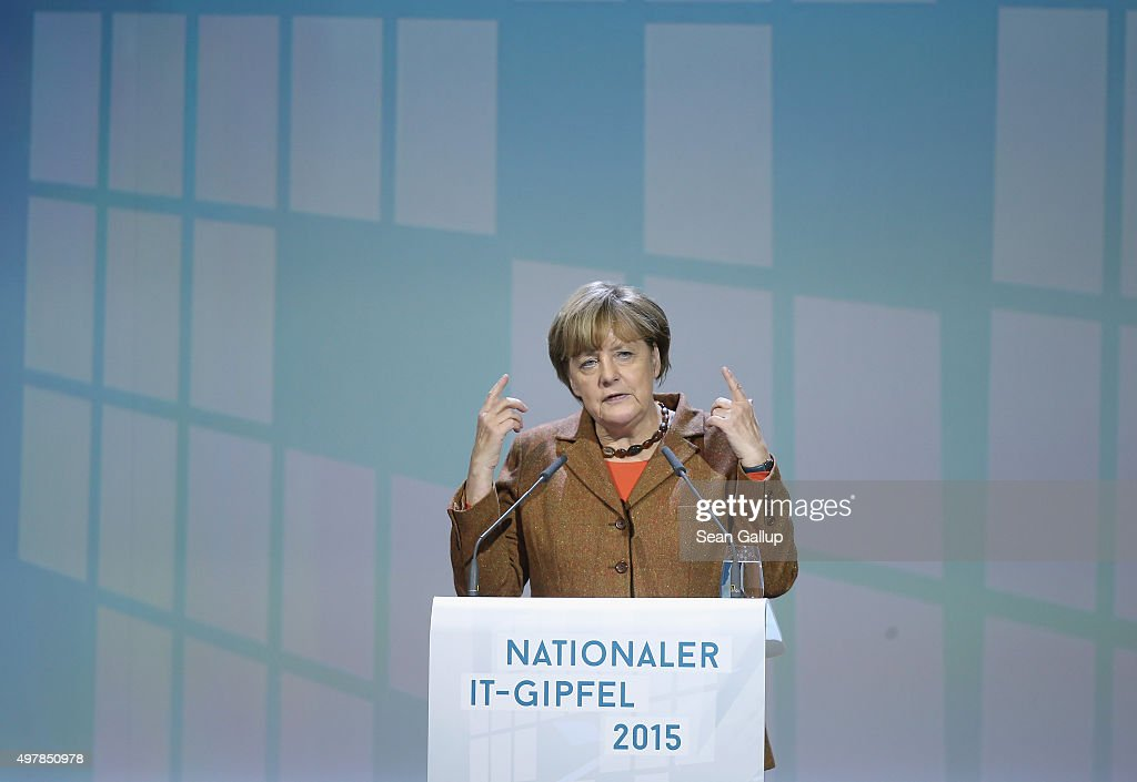 German Chancellor Angela Merkel speaks at the 2015 IT Summit on November 19, 2015 in Berlin, Germany. The two-day summit addresses issues of digital innovation for industry and the economy.