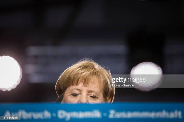 German Chancellor Angela Merkel speaks at the 30th German Christian Democrats party congress on February 26 2018 in Berlin Germany The CDU is meeting...