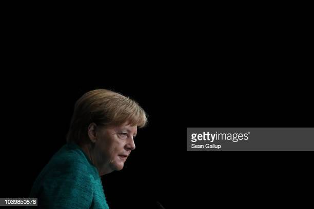 German Chancellor Angela Merkel speaks at the annual congress of the Federation of German Industry on September 25 2018 in Berlin Germany Merkel is...
