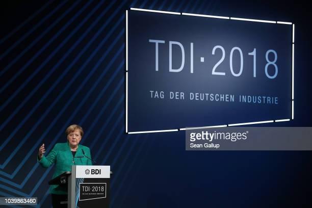 German Chancellor Angela Merkel speaks at the annual congress of the Federation of German Industry on September 25 2018 in Berlin Germany Merkel is...