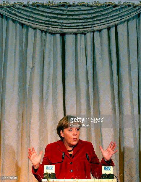 German Chancellor Angela Merkel speaks at the annual reception of the federation of german expellees at Opernpalais on March 16 2010 in Berlin Germany