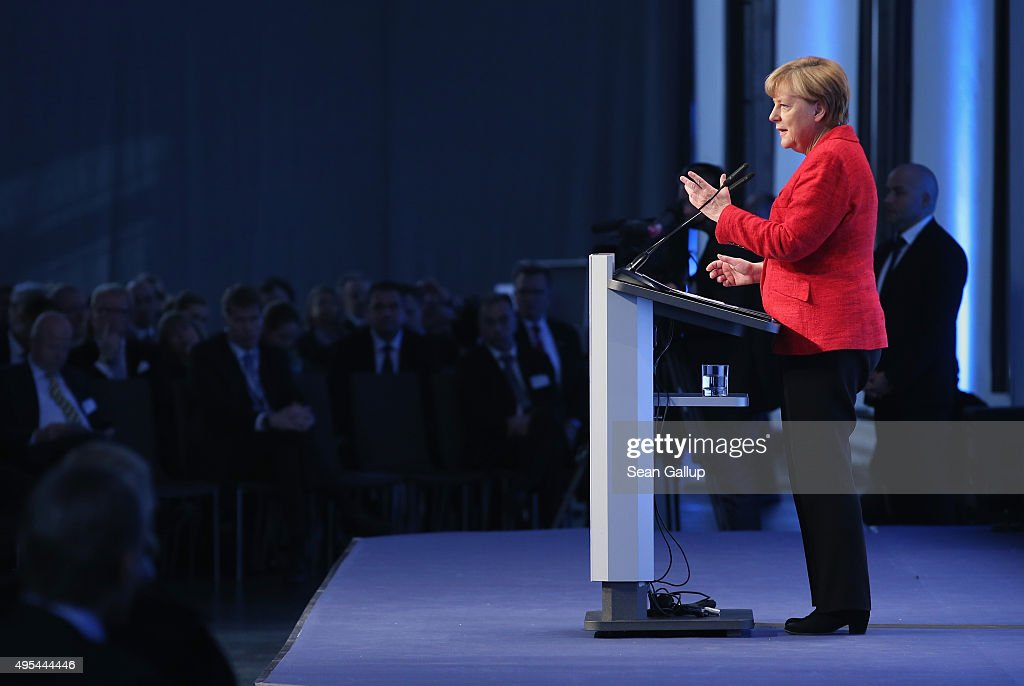 German Chancellor Angela Merkel speaks at the 'Day of German Indsutry' annual gathering on November 3, 2015 in Berlin, Germany. Hosted by the German Federation of Industry (BDI), the annual gathering brings together industrial leaders from across Germany as well as political leaders.
