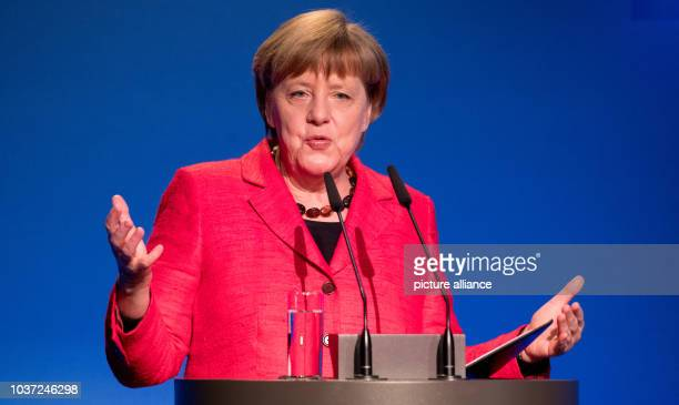 German Chancellor Angela Merkel speaks at the demographic summit of the federal government in Berlin Germany 16 March 2017 'Zusammenhalt staerken...