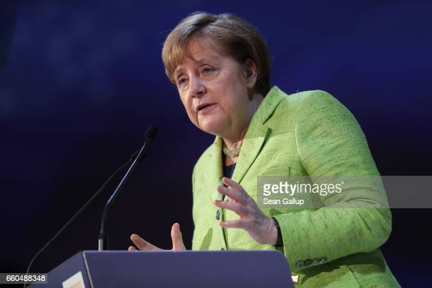 German Chancellor Angela Merkel speaks at the European People's Party Congress on March 30 2017 in San Giljan Malta The EPP which includes many...