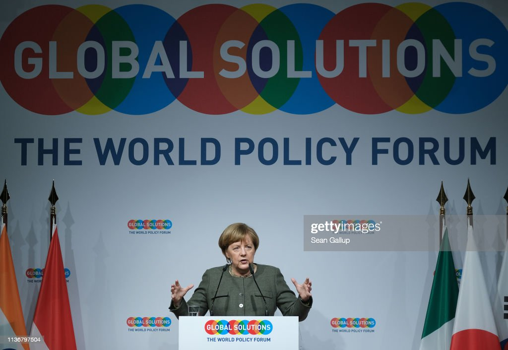 DEU: Merkel Speaks At Global Solutions Summit